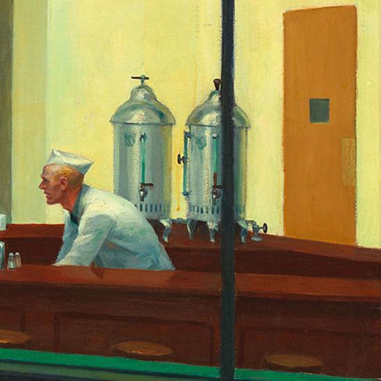Edward Hopper Nighthawks 1942 crop G | Edward Hopper Paintings, Aquarelles, Illustrations, Ads 1900-1966