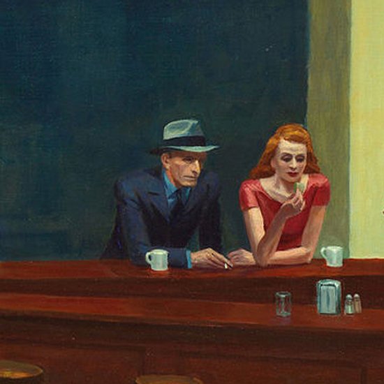 Edward Hopper Nighthawks 1942 crop H   Edward Hopper Paintings, Aquarelles, Illustrations, Ads 1900-1966