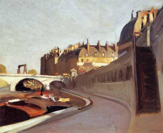 Edward Hopper Quai des Grands Augustins 1909 | Edward Hopper Paintings, Aquarelles, Illustrations, Ads 1900-1966