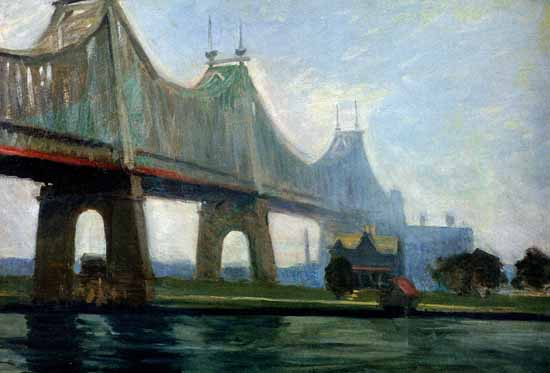 Edward Hopper Queensborough Bridge 1913   Edward Hopper Paintings, Aquarelles, Illustrations, Ads 1900-1966