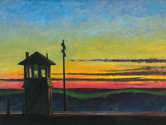 Edward Hopper Railroad Sunset 1929 | Edward Hopper Paintings, Aquarelles, Illustrations, Ads 1900-1966