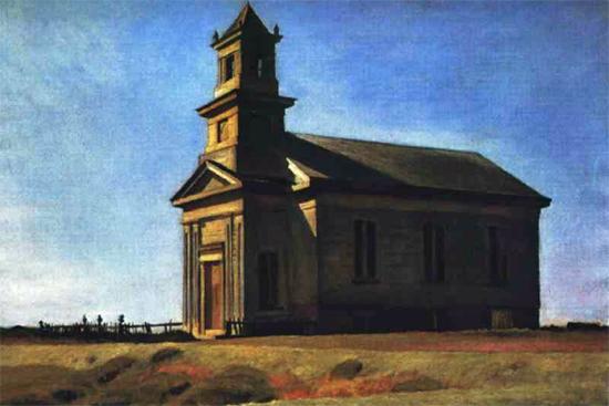 Edward Hopper South Truro Church 1930   Edward Hopper Paintings, Aquarelles, Illustrations, Ads 1900-1966