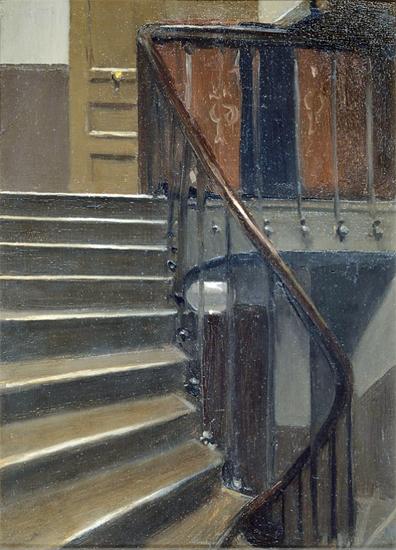 Edward Hopper Stairway at 48 rue de Lille Paris 1906   Edward Hopper Paintings, Aquarelles, Illustrations, Ads 1900-1966
