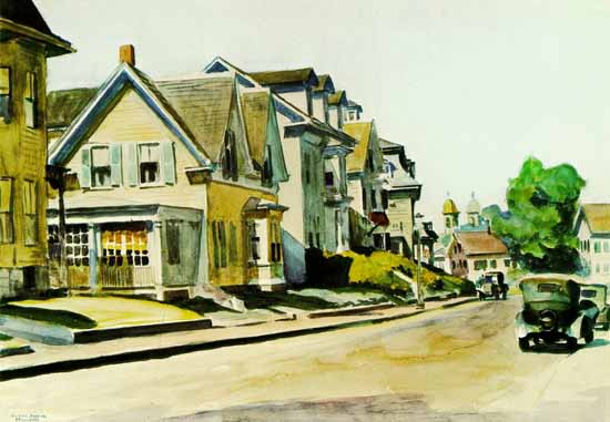 Edward Hopper Sun on Prospect Street Gloucester Massachusetts 1934 | Edward Hopper Paintings, Aquarelles, Illustrations, Ads 1900-1966