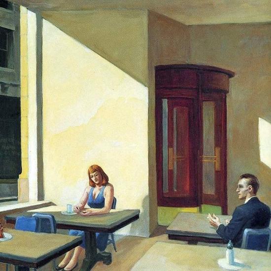 Edward Hopper Sunlight in a Cafeteria 1958 crop A | Edward Hopper Paintings, Aquarelles, Illustrations, Ads 1900-1966