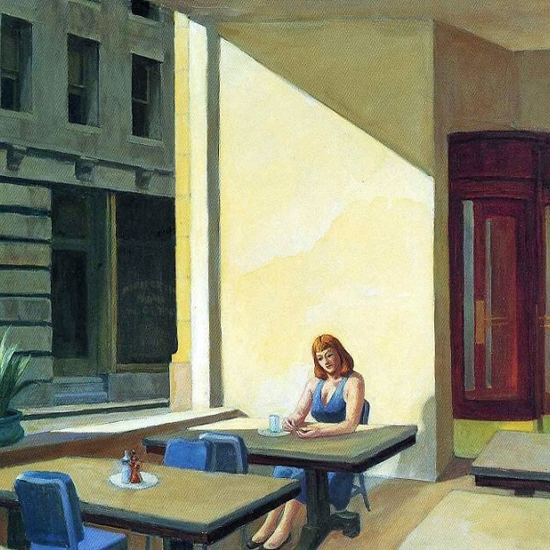 Edward Hopper Sunlight in a Cafeteria 1958 crop B | Edward Hopper Paintings, Aquarelles, Illustrations, Ads 1900-1966