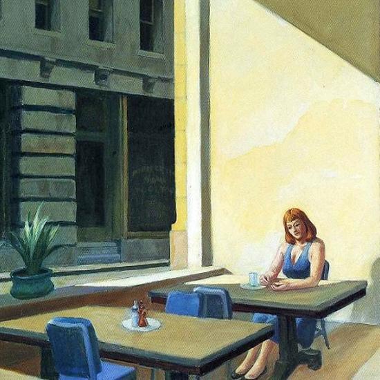 Edward Hopper Sunlight in a Cafeteria 1958 crop C | Edward Hopper Paintings, Aquarelles, Illustrations, Ads 1900-1966