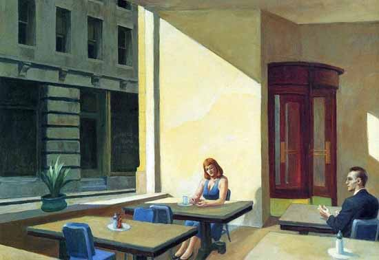 Edward Hopper Sunlight in a Cafeteria 1958 | Edward Hopper Paintings, Aquarelles, Illustrations, Ads 1900-1966