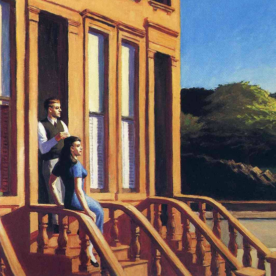 Edward Hopper Sunlight on Brownstones 1956 crop B   Edward Hopper Paintings, Aquarelles, Illustrations, Ads 1900-1966