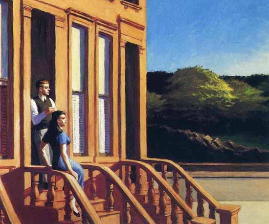 Edward Hopper Sunlight on Brownstones 1956   Edward Hopper Paintings, Aquarelles, Illustrations, Ads 1900-1966