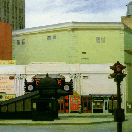 Edward Hopper The Circle Theatre 1936 crop | Edward Hopper Paintings, Aquarelles, Illustrations, Ads 1900-1966