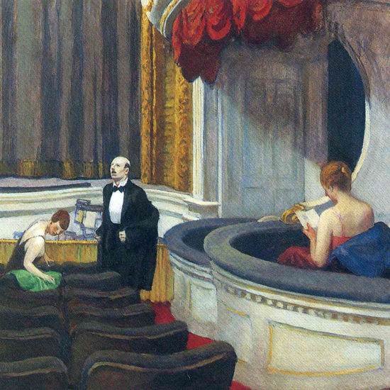 Edward Hopper Two on the Aisle 1927 crop | Edward Hopper Paintings, Aquarelles, Illustrations, Ads 1900-1966