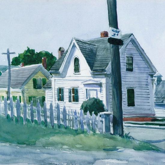Edward Hopper White House with Dormer Window 1923 crop | Edward Hopper Paintings, Aquarelles, Illustrations, Ads 1900-1966