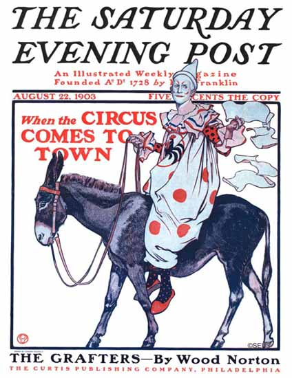 Edward Penfield Saturday Evening Post Circus comes to Town 1903_08_22 | The Saturday Evening Post Graphic Art Covers 1892-1930