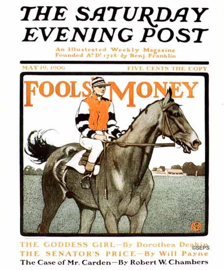 Edward Penfield Saturday Evening Post Fools Money 1906_05_19 | The Saturday Evening Post Graphic Art Covers 1892-1930