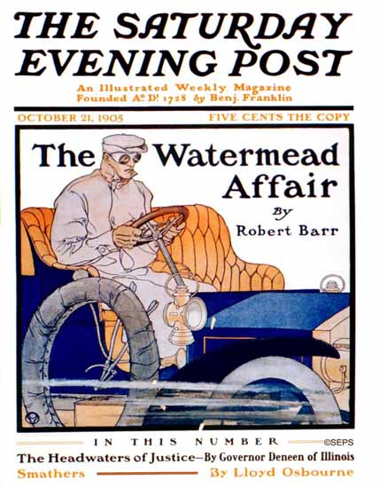 Edward Penfield Saturday Evening Post The Watermead Affair 1905_10_21 | The Saturday Evening Post Graphic Art Covers 1892-1930