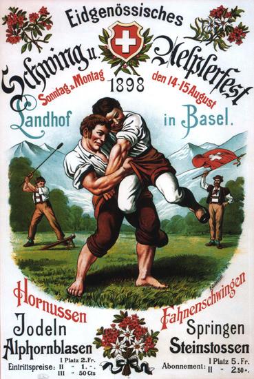 Eidgenoessisches Schwingfest 1898 Basel   Vintage Ad and Cover Art 1891-1970
