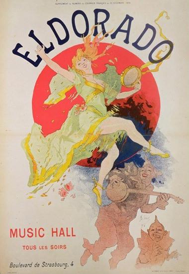 Eldorado Paris Dancer Music Hall Jules Cheret | Sex Appeal Vintage Ads and Covers 1891-1970