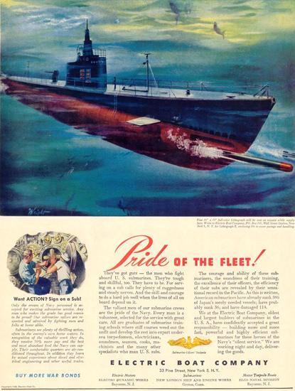 Electric Boat Co U-Boat Pride Of The Fleet 1944 | Vintage War Propaganda Posters 1891-1970