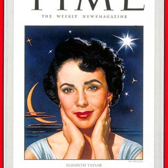 Elizabeth Taylor Time Magazine 1949-08 by Boris Chaliapin crop | Best of Vintage Cover Art 1900-1970