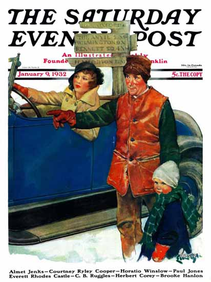Ellen Pyle Saturday Evening Post Asking Directions 1932_01_09 | The Saturday Evening Post Graphic Art Covers 1931-1969