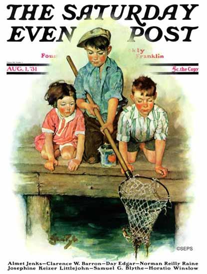 Ellen Pyle Saturday Evening Post Crabbing 1931_08_01 | The Saturday Evening Post Graphic Art Covers 1931-1969