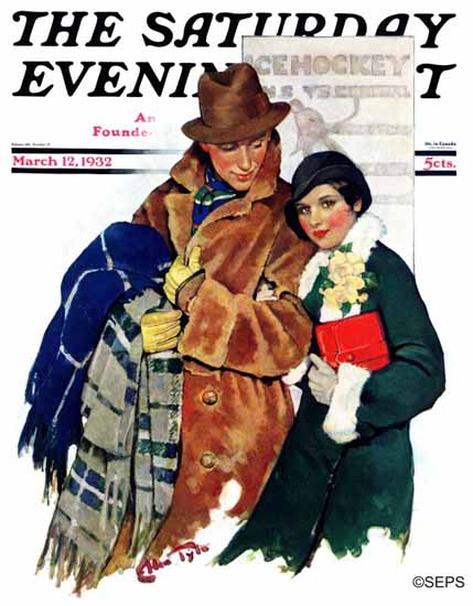 Ellen Pyle Saturday Evening Post Date at Hockey Game 1932_03_12 | The Saturday Evening Post Graphic Art Covers 1931-1969