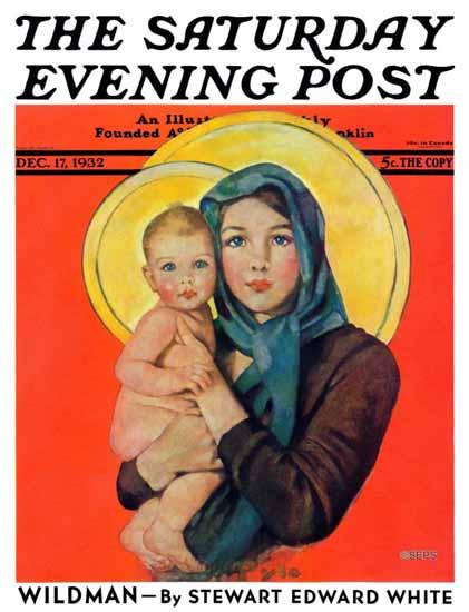 Ellen Pyle Saturday Evening Post Madonna and Child 1932_12_17 | The Saturday Evening Post Graphic Art Covers 1931-1969