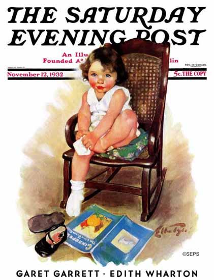 Ellen Pyle Saturday Evening Post Toddler in Rocker 1932_11_12 | The Saturday Evening Post Graphic Art Covers 1931-1969