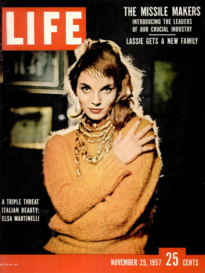 Elsa Martinelli Italian Triple Threat 25 Nov 1957 Copyright Life Magazine | Life Magazine Color Photo Covers 1937-1970