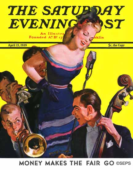 Emery Clarke Saturday Evening Post Big Band and Songstress 1939_04_15 | The Saturday Evening Post Graphic Art Covers 1931-1969