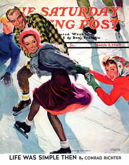Emery Clarke Saturday Evening Post Crack the Whip 1940_03_02   The Saturday Evening Post Graphic Art Covers 1931-1969
