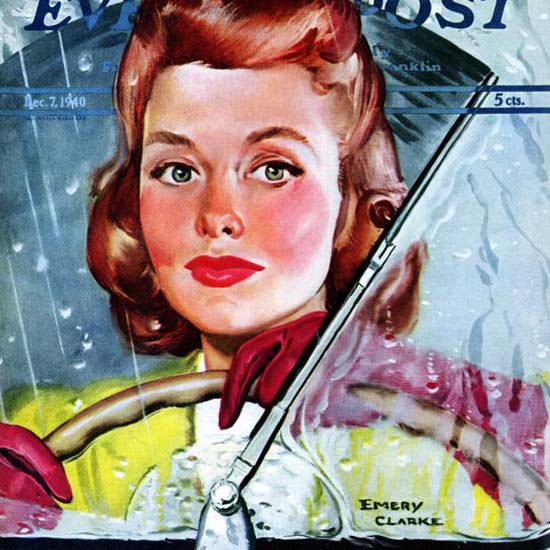 Emery Clarke Saturday Evening Post Rainy 1940_12_07 Copyright crop | Best of Vintage Cover Art 1900-1970