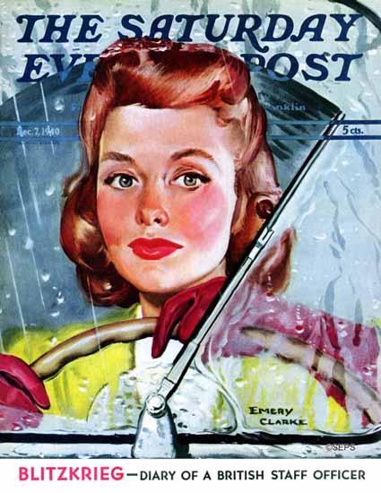 Emery Clarke Saturday Evening Post Rainy Drive 1940_12_07   The Saturday Evening Post Graphic Art Covers 1931-1969
