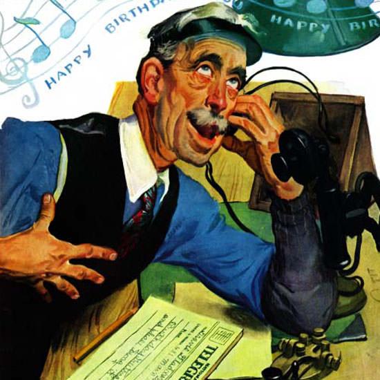 Emery Clarke Saturday Evening Post Telegram 1940_04_13 Copyright crop | Best of Vintage Cover Art 1900-1970