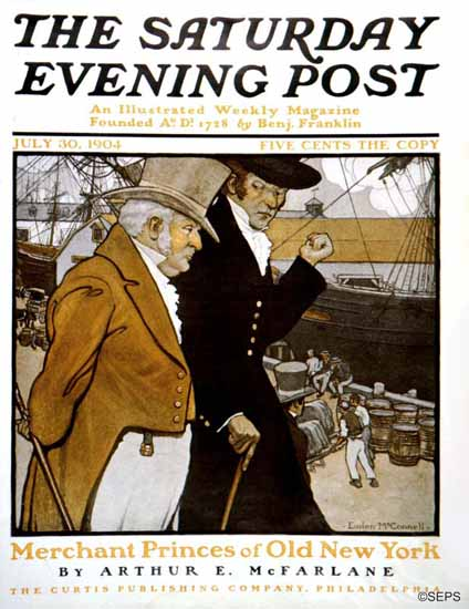 Emlen McConnell Saturday Evening Post Old New York 1904_07_30 | The Saturday Evening Post Graphic Art Covers 1892-1930