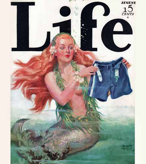 Emmett Watson Life Humor Magazine 1932-08 Copyright   Life Magazine Graphic Art Covers 1891-1936
