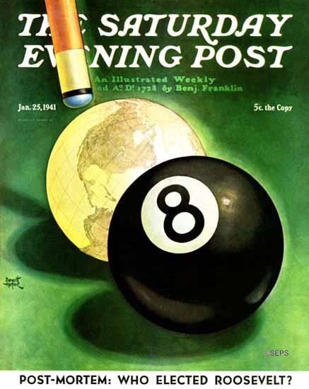 Emmett Watson Saturday Evening Post World as Cue Ball 1941_01_25 | The Saturday Evening Post Graphic Art Covers 1931-1969
