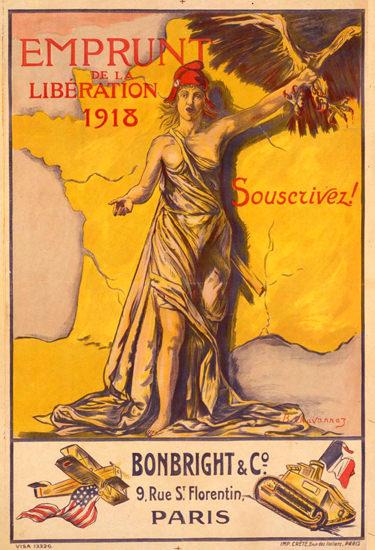 Emprunt De La Liberation 1918 Souscrivez | Vintage War Propaganda Posters 1891-1970