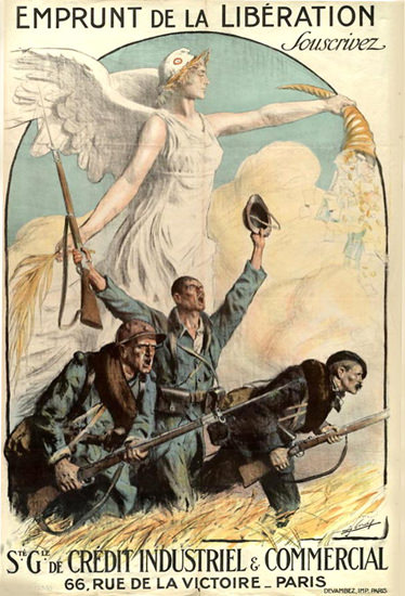 Emprunt De La Liberation Credit Industriel Paris | Vintage War Propaganda Posters 1891-1970