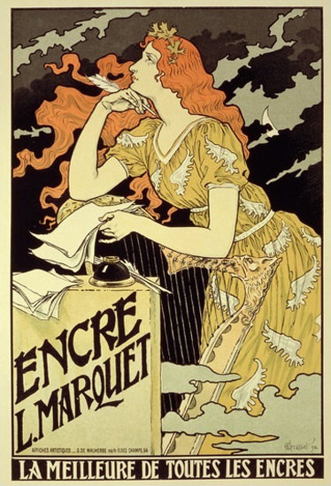 Encre L Marquet La Meilleure Jugendstil 1892 Ink | Sex Appeal Vintage Ads and Covers 1891-1970
