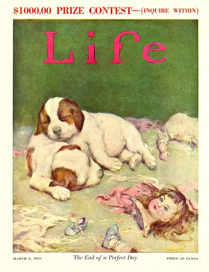 End of a Perfect Day Life Humor Magazine 1925-03-05 Copyright | Life Magazine Graphic Art Covers 1891-1936