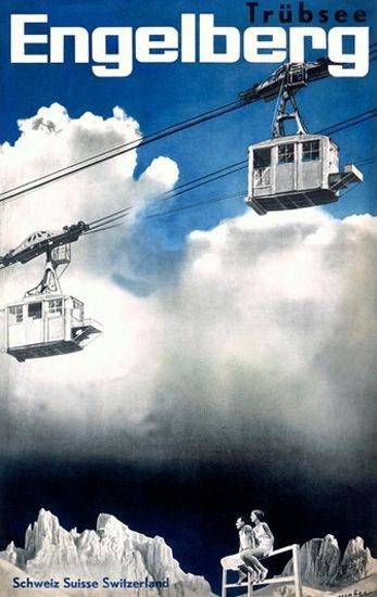 Engelberg Truebsee Aerial Passenger Tramway | Vintage Travel Posters 1891-1970