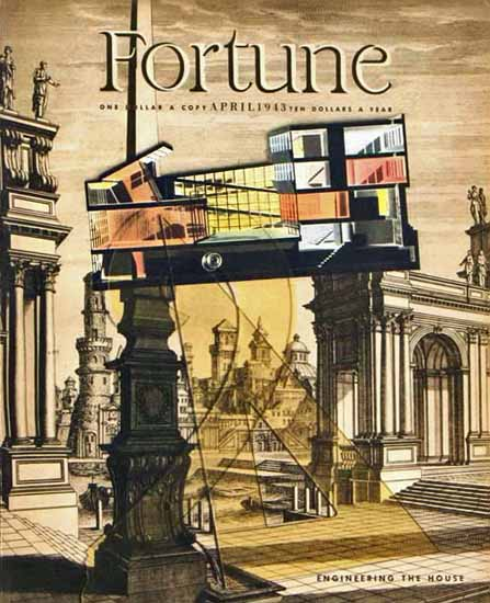Engineering The House Fortune Magazine April 1943 Copyright | Fortune Magazine Graphic Art Covers 1930-1959