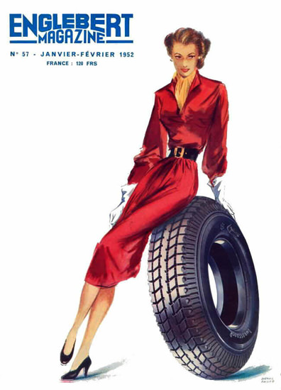 Englebert Magazine 1952 Tire Beauty | Sex Appeal Vintage Ads and Covers 1891-1970