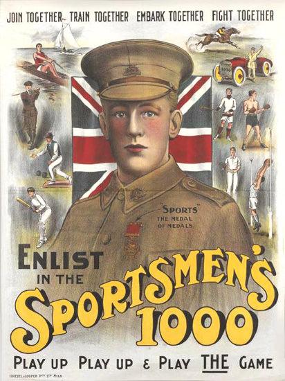 Enlist In The Sportsmens 1000 | Vintage War Propaganda Posters 1891-1970