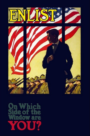 Enlist On Which Side Of The Window Are You | Vintage War Propaganda Posters 1891-1970