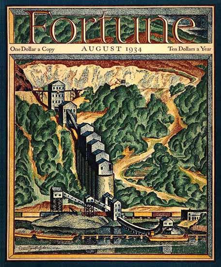 Ernest Hamlin Baker Fortune Magazine August 1934 Copyright   Fortune Magazine Graphic Art Covers 1930-1959