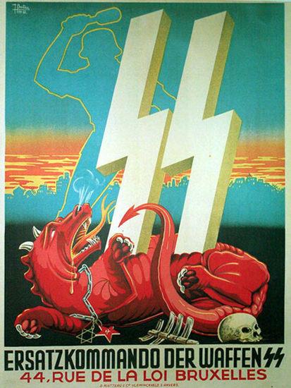 Ersatzkommando Der Waffen SS Bruxelles   Vintage War Propaganda Posters 1891-1970