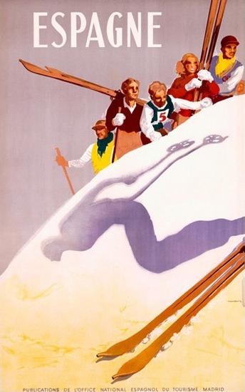 Espagne Skiing Tourisma Madrid Morell | Vintage Travel Posters 1891-1970
